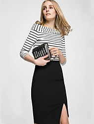 Women's Solid Black Skirts,Work Knee-length