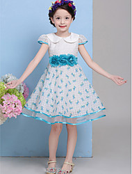 A-line Knee-length Flower Girl Dress - Cotton / Tulle Short Sleeve Jewel with