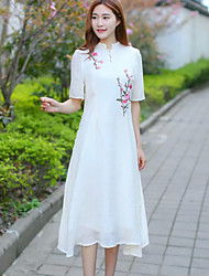 Women's Vintage Floral Tunic Dress,Stand Midi Cotton / Linen