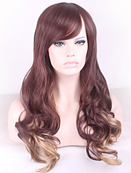 Brown Gradient COSPLAY Golden Curly Hair Synthetic Wigs
