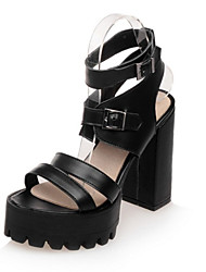 Women's Shoes Leatherette Spring / Summer / Fall Heels Wedding / Dress / Casual / Party & Evening Chunky Heel Black / White