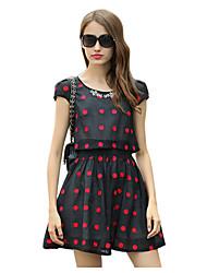 De las mujeres Línea A Vestido Bonito A Lunares Sobre la rodilla Escote Redondo Poliéster