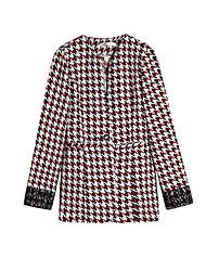 Women's Plaid Red Coat,Simple Long Sleeve Wool
