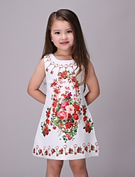Girl's White Dress,Floral Polyester Summer