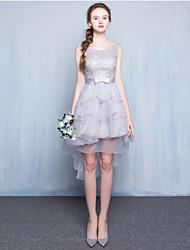 Cocktail Party Dress Ball Gown Jewel Asymmetrical Lace / Tulle with Bow(s)