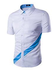 Men's Short Sleeve Shirt,Cotton Formal Solid
