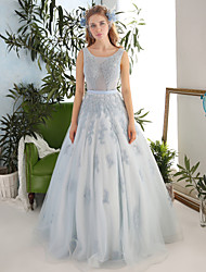 Princess Wedding Dress Floor-length Scoop Lace / Tulle with Beading / Crystal / Lace