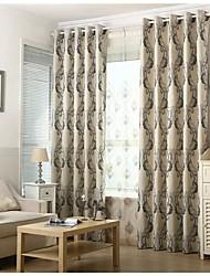 Dois Painéis Rústico / Europeu Curva Preto Sala de Estar Poliéster Blackout Cortinas cortinas