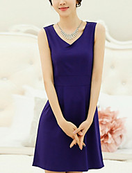Women's Casual / Day Solid Loose Dress , V Neck Mini Polyester