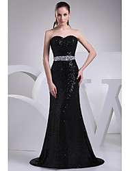 Formal Evening Dress-Black Trumpet/Mermaid Sweetheart Court Train Sequined