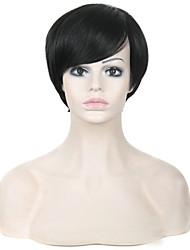 """8 """"sintética curta perucas pixie corte peruca preta para as mulheres peruca americano africano"""