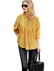 Women's Solid Blue / White / Yellow Blouse,Stand Long Sleeve