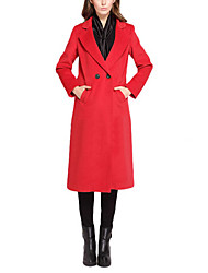Women's Solid Red Pea Coats,Simple Long Sleeve Polyester