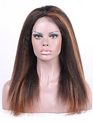 """""""26"""" peluca 8 brasileña virginal del pelo rizado recto llena del cordón&encajes frente peluca multicolor opcional con el pelo del bebé"""