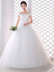 Ball Gown Wedding Dress-White Floor-length Off-the-shoulder Lace / Tulle