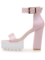 Women's Boots Summer Platform Leatherette Dress Casual Chunky Heel Buckle Zipper Blue Pink White Others