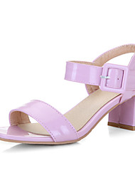 Women's Shoes Patent Leather Chunky Heel Open Toe Sandals Office & Career / Dress / Casual Black / Pink