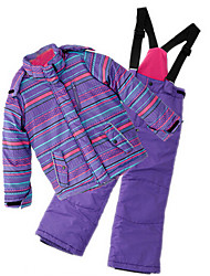 Girl's Purple Clothing Set,Stripes Polyester Winter