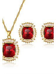 Copper Necklace Earrings Set New Design Luxury Red/Green Cubic Zirconia Set 24K Gold Plated Women Jewelry Sets
