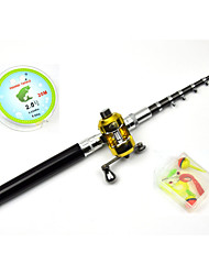 4 in 1 Set Fibre Glass Pen Fishing Rod Set Kids Fishing Pole Rod 4.6ft Black 8 sections