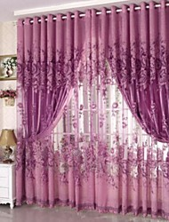 One Panel Grommet Top Country Floral Living Room Polyester Sheer Curtains Shades