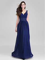 TS Couture® Formal Evening Dress Sheath / Column Sweetheart Floor-length Chiffon with Appliques / Side Draping