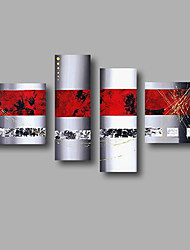 "Stretched (Ready to hang) Hand-Painted Oil Painting 64""x44"" Canvas Wall Art Modern Abstract Red Grey Golden"