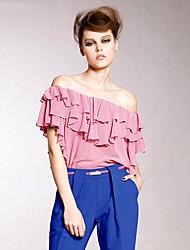JoanneKitten@ Women's Sexy/Beach/Casual/Cute/Party/Work/Plus Sizes Ruffles Ruffles Short Sleeve Regular Blouse