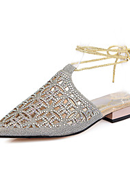 Women's Shoes Synthetic Flat Heel Comfort / Pointed Toe Sandals Dress / Casual Silver / Gold / Champagne