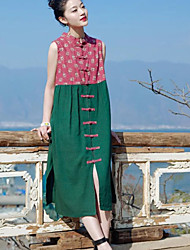 Women's Vintage Loose Dress,Floral Round Neck Midi Sleeveless Red / Green Cotton / Linen Summer