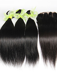 4Pcs Lot Indian Straight Virgin Hair With Closure 3 Bundles Unprocessed Indian Human Hair Weaves With 1pcs Lace Closures