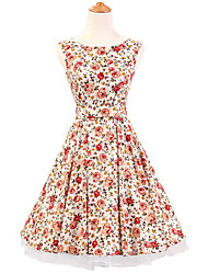 50s Era Vintage Style Sleeveless Rockabilly Dress Audrey Hepburn Cosplay Costume White Floral (with Petticoat)