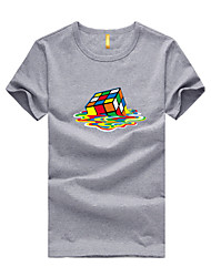 High Quality Men's Short Sleeve T-Shirt Casual / Sport Rubik's Cube Print Breathable Comfortable T Shirt