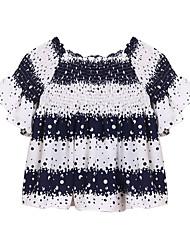 Boutique G Women's Print Blue Blouse,Boat Neck Short Sleeve