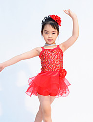 Kids' Dancewear Outfits Children's Performance Organza / Lycra Sequins Sleeveless Natural