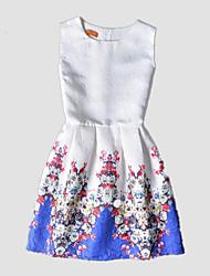 Girl's White Dress,Print Polyester All Seasons