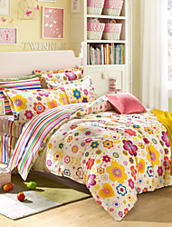 Yellow flowers 100% CottonBedclothes 4pcs Bedding Set Queen Size Duvet Cover Set