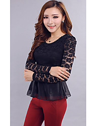Women's Solid Pink / Black Blouse,Round Neck Long Sleeve