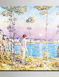 mini tamaño de la pintura al óleo e-hogar moderno las costas de las mujeres a mano puro dibujar pintura decorativa sin marco