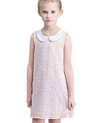 Girl's Pink Dress,Lace Cotton / Polyester Summer