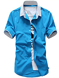 Men's Board Shirts Short Sleeve Breathable Comfortable Shirt,Cotton / Polyester Casual / Sport Solid Beach Shirts