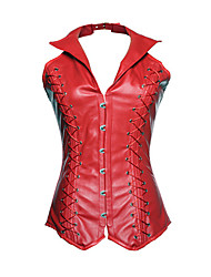 Women Overbust Corset,Genuine Leather Hook & Eye