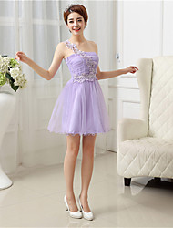 Short/Mini Satin / Tulle Bridesmaid Dress-Lavender / White / Champagne A-line One Shoulder