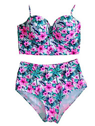 Women's Vintage High Waist Floral Padded Swimwear