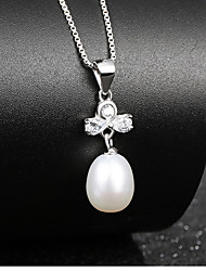 Vintage Fresh Water Natural Pearl Pendant Crystal Bowknot Necklace Real 925 Silver Chain Women Wonderful Jewelry