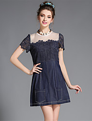 Fashion Plus Size Women's Denim Sexy See Through Gauze Patchwork Hollow Embroidery Lace Party/Daily Dress