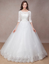 Princess Wedding Dress Lacy Look Floor-length Scoop Lace with Bow Flower Ruffle