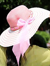 Women Straw Elegant Bow Beach Floppy Hat,Cute / Party / Casual Spring / Summer / Fall