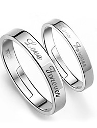 2pcs Sterling Silver Ring Love Forever Couple Rings Adjustable Fashion Jewelry for Couple Wedding Engagement Ring