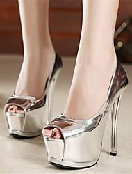Calçados Femininos-Saltos-Saltos / Peep Toe-Salto Agulha-Preto / Prateado-Courino-Casamento / Festas & Noite